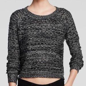 Aqua Marled Side Zip Crop Pullover Sweater Sz M